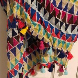 KATE SPADE multi color tassel fringe cotton scarf